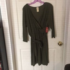 Xl  olive 3/4 sleeve wrap front look dress NWT